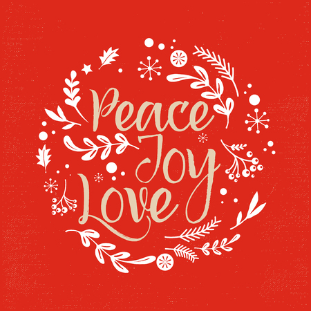 Merry Christmas Background with Typography, Lettering. Greeting card - Peace, Joy, Love Ilustracja