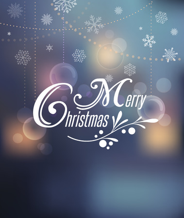 gift card: Merry Christmas Background With Typography, Lettering. Light bokeh background and greeting card