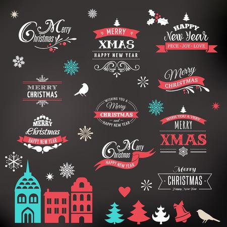 navidad elegante: Colección de diseño de Navidad, Conjunto de letras y tipográficos elementos, iconos, etiquetas de la vendimia. . Cintas, pueblo de Navidad y pegatinas