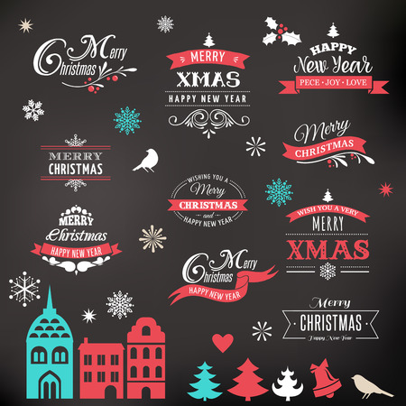 Christmas design collection, Set of lettering and typographic elements, icons, vintage labels. . Ribbons, xmas village and stickers Illustration
