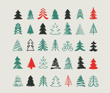 estrellas de navidad: Dibujado a mano iconos del árbol de Navidad. Doodles y bocetos Vectores