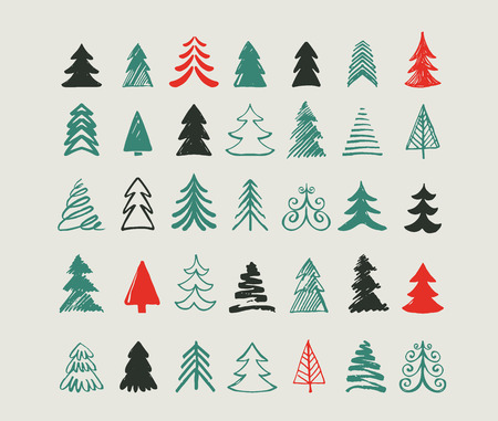 christmas tree set: Hand drawn Christmas tree icons. Doodles and sketches