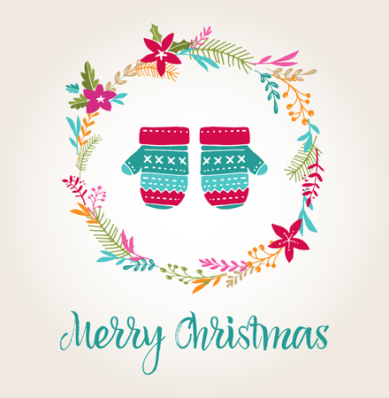 elements: knitted mittens Xmas background, Merry Christmas greeting card