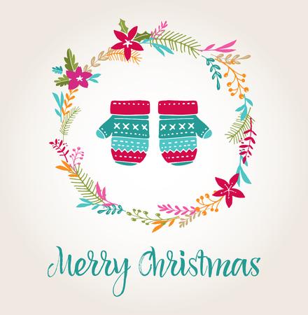 elementos: mitones de punto Fondo de Navidad, tarjetas de felicitación Feliz Navidad