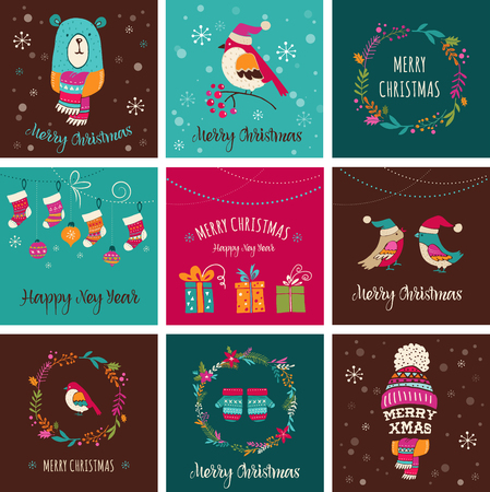 chalks: Merry Christmas Design Greeting cards - Doodle Xmas illustrations with birds, wreath, trees Illustration