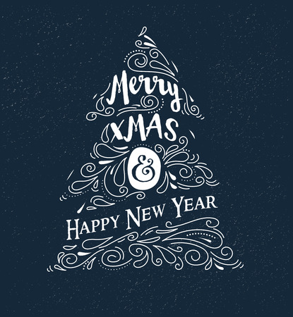 chalkboard: Chalkboard, Vintage style, Christmas Tree with typography and lettering