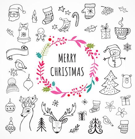 メリー クリスマス - クリスマス落書きシンボル、手描きイラスト、スケッチ  イラスト・ベクター素材