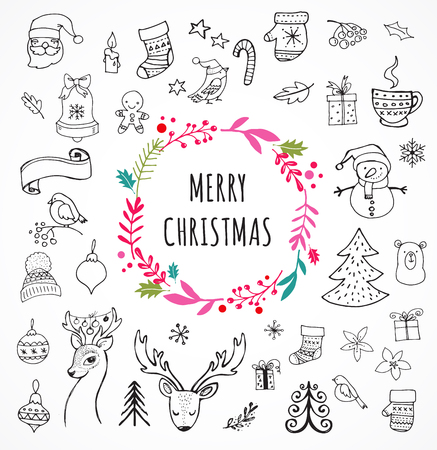 Merry Christmas - Doodle Xmas symbols, hand drawn illustrations, sketches
