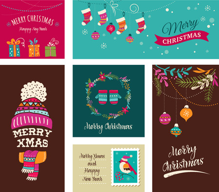Merry Christmas Design Greeting cards - Doodle Xmas illustrations with birds, wreath, trees Vettoriali
