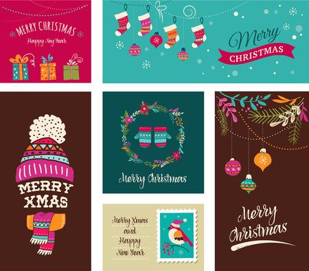 boom: Merry Christmas Ontwerp Wenskaarten - Doodle Xmas illustraties met vogels, kroon, bomen Stock Illustratie