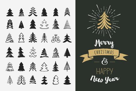 arboles caricatura: Dibujado a mano iconos del árbol de Navidad. Doodles y bocetos Vectores
