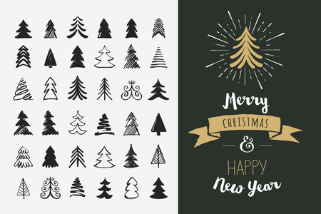 happy holidays: Hand drawn Christmas tree icons. Doodles and sketches