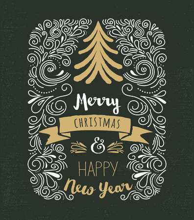 Chalkboard, Vintage style, Christmas Tree with typography and lettering