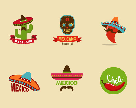 mexican sombrero: Mexican food icons, menu elements for restaurant and cafe