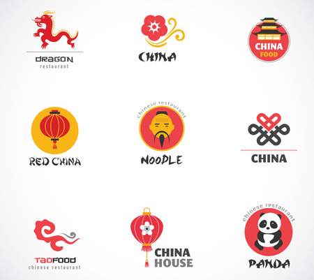 sum: Chinese restaurant and coffee shops icons, menu design, elements