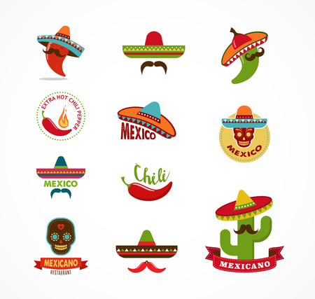 fajita: Mexican food icons, menu elements for restaurant and cafe