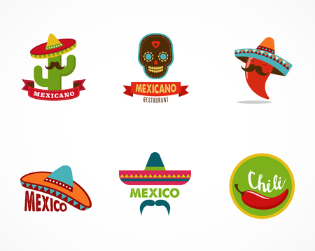 メキシコ料理のアイコン、レストラン、カフェのメニューの要素  イラスト・ベクター素材