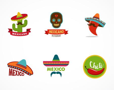 logos restaurantes: Iconos de los alimentos mexicanos, elementos de menú para restaurante y cafetería