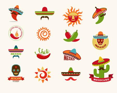 sombrero de charro: Iconos de los alimentos mexicanos, elementos de menú para restaurante y cafetería