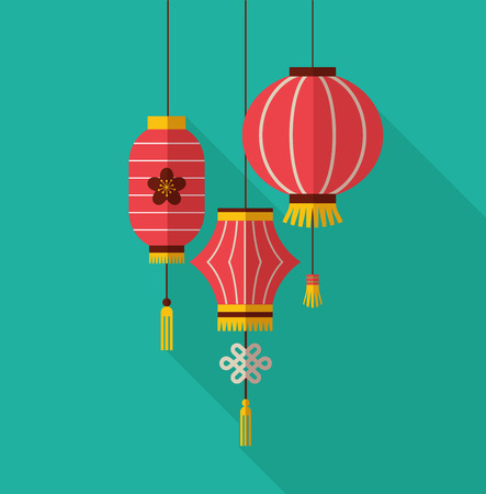 autumn motif: chinese new year, minimalistic flat design with lanterns Illustration