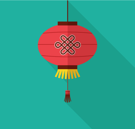 asian art: chinese new year, minimalistic flat design with lantern