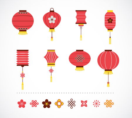 lantern festival: collection of Chinese red lanterns and elements