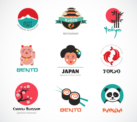 Japanese food and sushi icons, menu design, elements