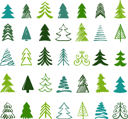 christmas icon: Hand drawn Christmas tree icons. Doodles and sketches