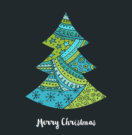 holiday invitation: Hand drawn Christmas tree icons. Doodles, elements and sketches