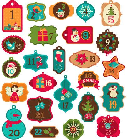 osos navideños: Calendario de Adviento - etiquetas, etiquetas y elementos Vectores