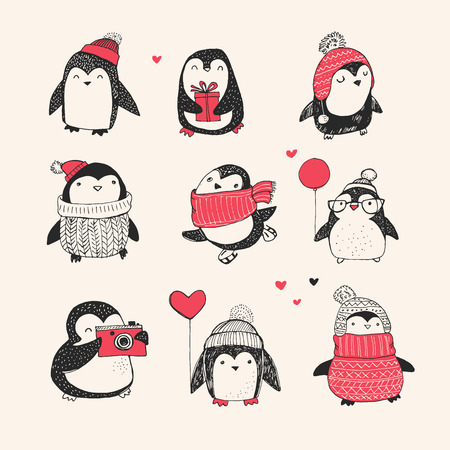 Cute hand drawn, vector penguins set - Merry Christmas greetings Çizim