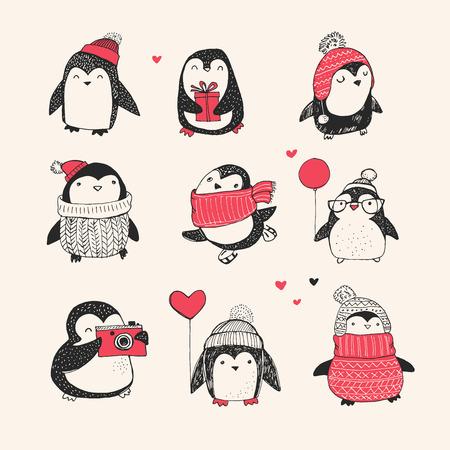 Cute hand drawn, vector penguins set - Merry Christmas greetings Stock Illustratie