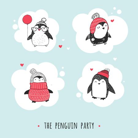 pinguino caricatura: Lindo dibujado a mano, ping�inos conjunto de vectores - saludos Feliz Navidad