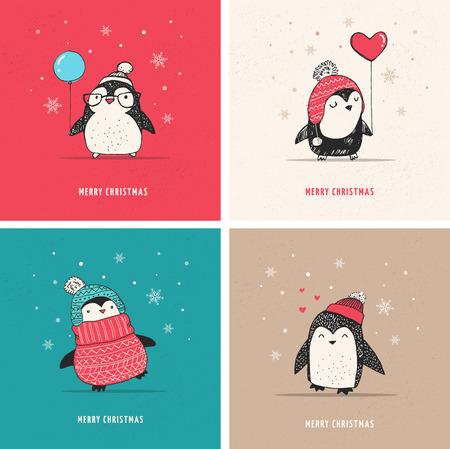 Cute hand drawn, vector penguins set - Merry Christmas greetings 矢量图像