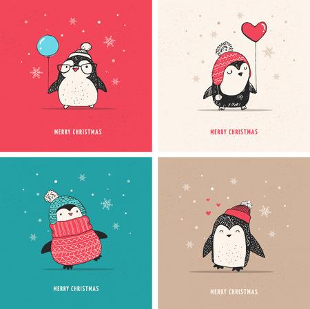 Leuke hand getrokken, vector pinguïns set - Vrolijk kerstfeest groeten Vector Illustratie