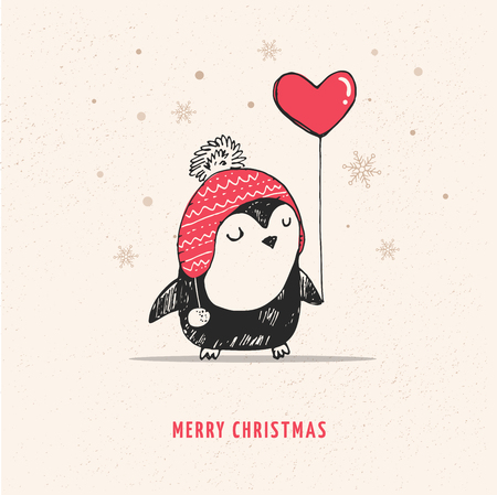 Cute doodle vector penguin with red heart balloon - Merry Christmas