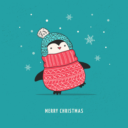 winter hat: Cute doodle vector penguin with sweater - Merry Christmas greetings