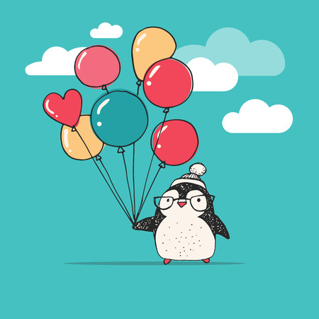 heart in hand: Cute doodle vector penguin with balloons - Merry Christmas greetings
