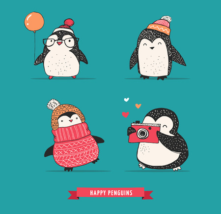 swimming bird: Cute hand drawn, vector penguins set - Merry Christmas greetings Illustration