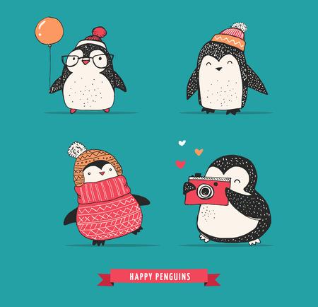 pinguino caricatura: Lindo dibujado a mano, pingüinos conjunto de vectores - saludos Feliz Navidad