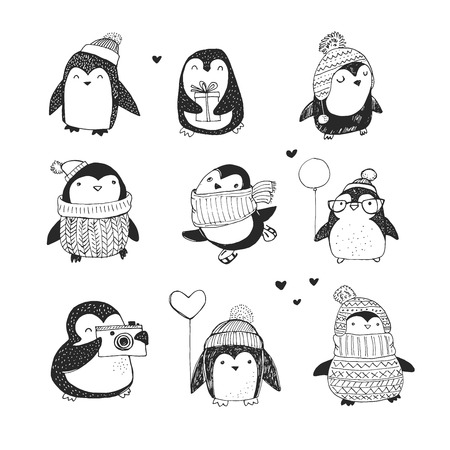 hand drawn cartoon: Cute hand drawn, vector penguins set - Merry Christmas greetings Illustration