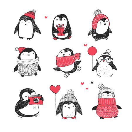 red hat: Cute hand drawn, vector penguins set - Merry Christmas greetings Illustration