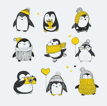 lechuzas: Lindo dibujado a mano, pingüinos conjunto de vectores - saludos Feliz Navidad
