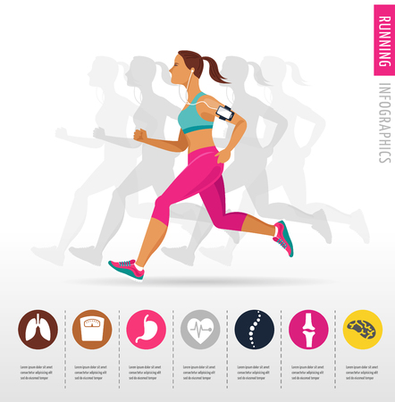woman running: woman running a marathon - poster and infographic