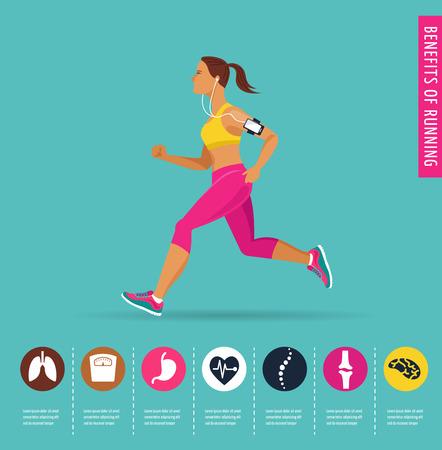 vrouw lopen van een marathon - affiche en infographic