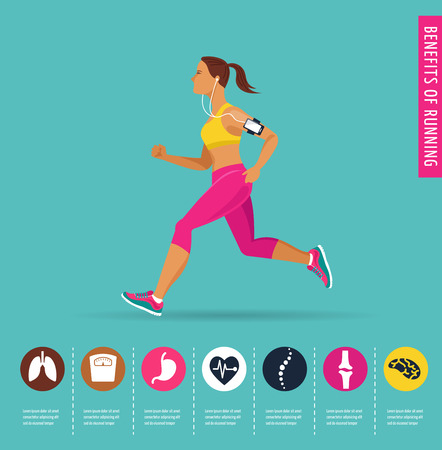 running woman: woman running a marathon - poster and infographic