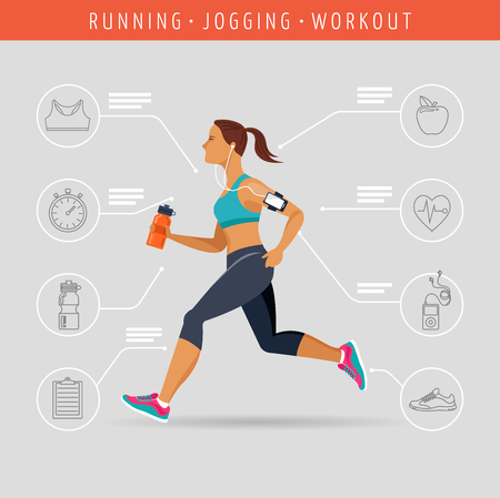 road runner: woman running a marathon - poster and infographic