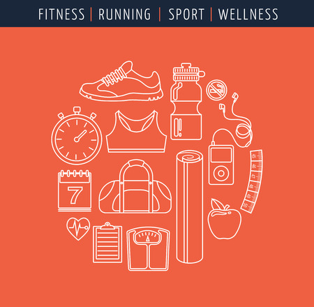 food hygiene: Fitness, runnung  gym and diet icons
