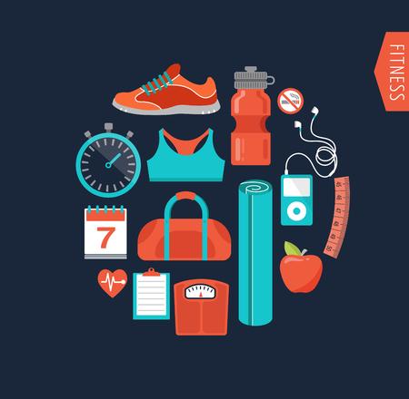 ejercicio aeróbico: Fitness, gimnasio runnung y la dieta iconos Vectores
