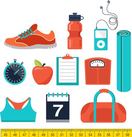 levantando pesas: Fitness, gimnasio runnung y la dieta iconos Vectores